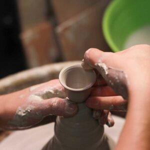 clay vase on pottery wheel