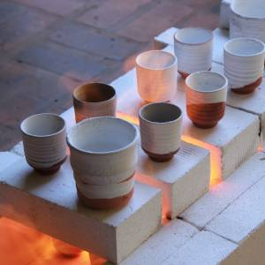 pottery firing on an open kiln