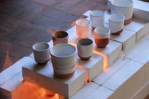 pottery firing on an open kiln